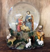 Christmas Nativity Holy Family Waterball Stable Scene Snow Globe
